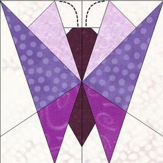 The butterfly  can be pieced in subtle colors or bright vibrant colors. Butterflies are a favorite and always popular. A good block to mix and match with other blocks.  Suitable for beginner.  Pattern