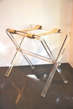 RARE Hollywood Regency LUCITE Luggage Rack Tray by TheRelicTrail