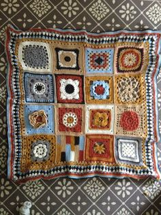 My crochet granny square blanket in autumn colours