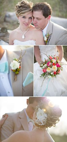 Coral and Turquoise Wedding Decor, Photo by Summer Jean Photography via Junebug Weddings