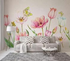 Bright Flowers Wallpaper Mural Decal Mural Photo Sticker Decal Wall Self-Adhesive Wall Art Design printed Removable Wallpaper 3d Wallpaper Flower, Paper Wallpaper, Self Adhesive Wallpaper, Peel And Stick Wallpaper, Flower Mural, Bright Flowers, Traditional Wallpaper, Home And Deco, Butterfly Wall