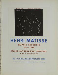 Henri Matisse Oeuvres Récentes 1947 - 1948 Henri Matisse France - 1949 13 x 10 in (32 x 24 cm) $75 #Matisse #vintageposter #art #exhibitionposter