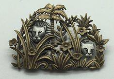 Vintage JJ Jonette Lion Lioness Jungle Brooch Pin Gold Silver