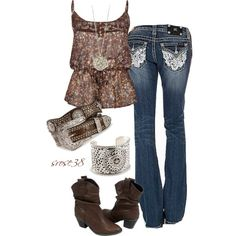 Nashville Star by srose38 on Polyvore featuring Full Tilt, Miss Me, House of Harlow 1960 and Nocona