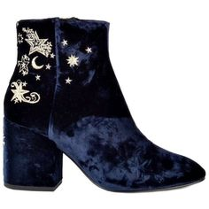 Ash Elixir Nadine Velvet Embroidered Boots - Midnight ($250) ❤ liked on Polyvore featuring shoes, boots, midnight, velvet boots, polka dot boots, polka dot shoes, block heel boots and rounded toe boots