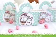 the Lawn Fawn blog: Easter Favor Tote Bags by Elena _ Tote Bag, Chirpy Chirp Chirp, Eggstra Special Easter, Let's Polka in the Meadow, Stitched Circle Stackables, Celebration Scripty Sayings