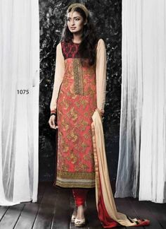 Pleasing Cream And Red Georgette With Net Embroidery Work Churidar Suit http://www.angelnx.com/