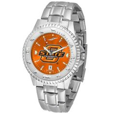 """Oklahoma State Cowboys NCAA Anochrome """"Competitor"""" Mens Watch (Steel Band) by SunTime. $93.99. Color Coordinated. Rotating Bezel. Calendar Date Function. Showcase the hottest design in watches today! The functional rotating bezel is color-coordinated to compliment your favorite team logo. The Competitor Steel utilizes an attractive and secure stainless steel band. The AnoChrome dial option increases the visual impact of any watch with a stunning radial reflection s..."""