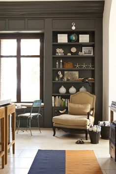 dark wall color with white floor