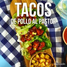 Video de Tacos de Lechuga con Pollo al Pastor Nothing like enjoying some chicken tacos al pastor without blame. I Love Food, Good Food, Yummy Food, Tasty, Comida Diy, Deli Food, Cooking Recipes, Healthy Recipes, Healthy Foods