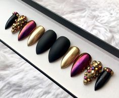Gold Chrome Press on Nails | Matte Black | Black Crystals | Gold Duo Chrome Mirror Powder | Handpainted Nail Art | Glue On | Any Shape Size by DippyCowNails on Etsy