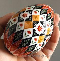 Floral Pysanka Pysanky Ukrainian Style Batik Art Easter Egg EBSQ Plus