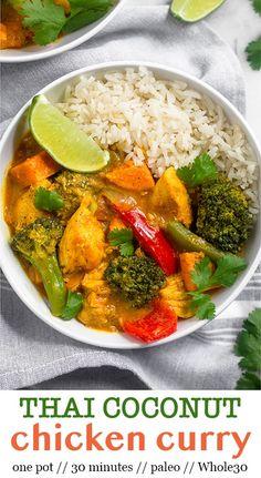 Thai Coconut Curry Recipe, Thai Coconut Curry Chicken, Healthy Chicken Curry, Paleo Curry, Red Curry Chicken, Curry Recipes, Paleo Recipes, Whole Food Recipes, Cooking Recipes