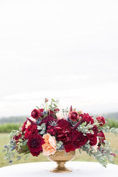 Autumnal Vineyard Burgundy and Gold Wedding Idea / http://www.deerpearlflowers.com/burgundy-and-gold-wedding-ideas/