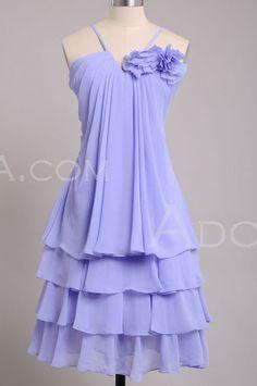 Cheap Knee Length A line Lilac Chiffon Bridesmaid Dress - E20169