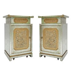 For Sale on - Pair of Chinese modern end cabinets in the manner of James Mont. Extraordinary gold and silver gilt finish over painted green pecan. Turkish Furniture, Antique Furniture, Modern Furniture, Modern Interior Design, Interior And Exterior, Electrical Supplies, Modern Cabinets, Lamp Design, Manners