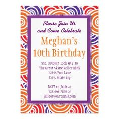 Purple Orange Circles Birthday Party Invitations