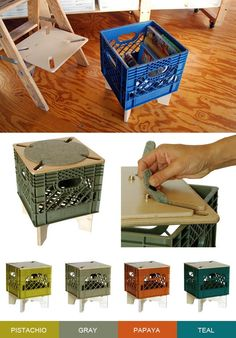 crate stool, repurposed milk crate, upcycled furniture.