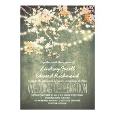 String lights cute and fancy wedding invitations