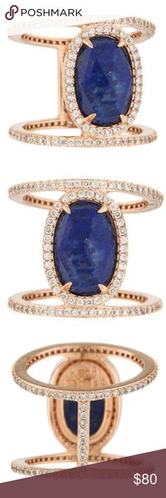 HENRI BENDEL LAPIS LAZULI & CRYSTAL RING Gold-tone Henri Bendel band ring featuring faceted oval lapis lazuli at center and crystal accents.  Ring Size: 7.5 Metal Type: Gold-Tone Metal Hallmark: Brand Hallmark  Signature: Henri Bendel Location: Interior Surface Metal Finish: High Polish Total Item Weight (g): 4.6 Non-Gem Materials: Crystal Gemstone: Lapis Lazuli Stone Dimensions (mm): Length 12.91, Width 8.49 Stone Shape: Faceted, Oval Stone Color: Blue Transparency: Opaque henri bendel…