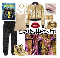 """""""PITCH PERFECT 2 - CRUSHED IT!"""" by bee4735 ❤ liked on Polyvore featuring Abercrombie & Fitch, Morgan, Giuseppe Zanotti, DKNY, Bling Jewelry and pitchperfect2"""