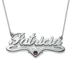 Patricia bling  (Amazon.com: Silver Middle Heart Swarovski Crystal Name Necklace)
