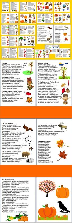 $ Fall Poems Songs,  Chants and Finger Plays for Fall or Autumn Shared Reading or Fluency – 36 page file –  40 Fall Poems/Songs/Chants and finger plays and  12 pages of large Fall images to cut out and  glue onto shared reading charts. Copy in color or grayscale.   Sing these fall poems to familiar tunes, or chant.  Use some or all year after year during the season of Fall.