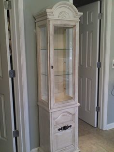 Charming This Is A Curio Cabinet I Refinshed To Use For Bathroom Storage.