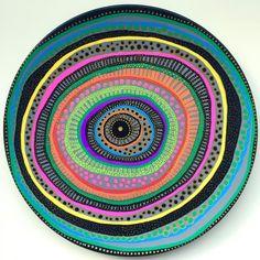 Decorative Plate - Mandala Spiral Colorful - Original hand-painted Artwork - Wall Hanging - Wall Decor by biancafreitas on Etsy Ceramic Plates, Ceramic Pottery, Decorative Plates, Ceramic Art, Unique Wall Decor, Rustic Wall Decor, Metal Flower Wall Decor, Pottery Painting Designs, Artwork Wall