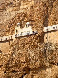 The Monastery of the Temptation (Quruntal) is built along a cliff overlooking the city of Jericho and the Jordan Valley. Upon the summit of the Mount of Temptation. www.ffhl.org #Franciscan #HolyLand