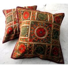 (SKU no: kmic 2012) 2 Vintage Handcrafted Embroidered Indian Sari Throw Pillow Toss Cushion Covers, Krishna Mart India