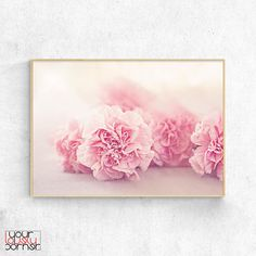 Pink Carnations Flowers Digital Print Botanical Wall Art