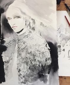 """105 Likes, 1 Comments - Cate Parr  (@cateparr) on Instagram: """"#driesvannoten #fashionsketch #fashionportrait #fashionillustration #sequinshawl"""""""
