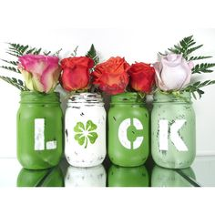 St Patricks Day Party Decoration, Green Mason Jars, Spring Decor,... ($34) ❤ liked on Polyvore featuring home, home decor, green home accessories, spring centerpieces, spring home decor, green centerpieces and green home decor
