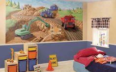 Construction Site Mural for Kids Room Decor