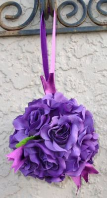 FLOWER BALLS ~ DARK PURPLE PLUM ~ Kissing Ball Pomander Wedding Flowers Pew Bows