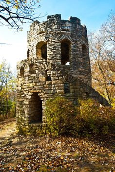Clark Castle Back in this limestone castle tower was built in honor of Caleb and Ruth Clark, who were pioneers of Madison County, Iowa. Castles In Ireland, Germany Castles, Scotland Castles, Medieval Tower, Medieval Castle, Abandoned Castles, Abandoned Places, Abandoned Mansions, Haunted Places