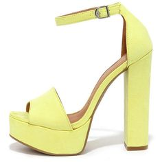 Chinese Laundry Avenue Lemon Suede Platform Heels (655 MAD) ❤ liked on Polyvore featuring shoes, heels, sandals, yellow, yellow peep toe shoes, platform shoes, block heel shoes, chinese laundry shoes and high heel peep toe shoes