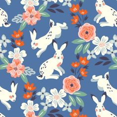White rabbits with roses custom fabric by solnca_lych for sale on Spoonflower