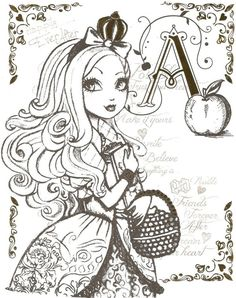 Free Printable Ever After High Coloring Pages Apple White Sheet