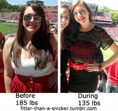 185lbs to 128lbs (she lost more weight since the picture). Weight loss 57lbs. BMI 28.1 (overweight) to 19.5 (healthy weight).