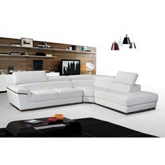 Luca Home Split Leather Sectional (Left Side Facing Split Leather Sectional Black), White