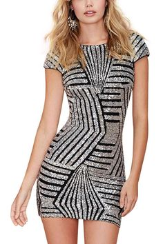 Silver Geometric Sequin Short Sleeve Open Back Dress from Young & Free Clothing. Saved to Party dresses .