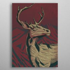 The Deer by Alexander Tobler Wall Art Prints, Canvas Prints, Deer, Moose Art, Canvas Art, Wall Decor, Posters, Fine Art, Baby Onesie