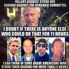 Bill clinton is out of his std lovin mind!!!! Evil evil evil man!!! These awesome 4 heroes should still be alive and helping more of our beloved soldiers veterans  and any other officials who need it!!!  Shame and damned to hell for Killary clinton..