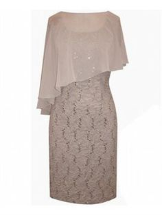 Taupe Lace Dress | Plus Size Mother of the Bride | OneStopPlus