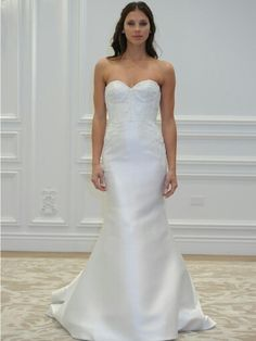 Anne Barge Spring 2016 ---- Gorgeous Strapless Shantung Bridal Gown With A Lace Corset Style Bodice.... I Think This May Be My Personal Favorite In This Collection!