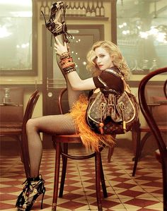 Madonna. LV. Feathers. Shoes.