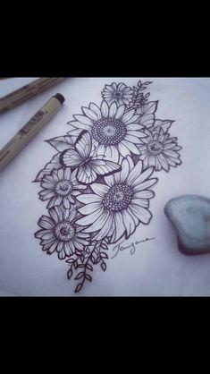 Minus the butterfly tattoos sunflower tattoos flower tattoos tattoo style flowertattoos Dope Tattoos, Pretty Tattoos, Leg Tattoos, Body Art Tattoos, Small Tattoos, Tatoos, Side Piece Tattoos, Cute Thigh Tattoos, Tattoos Pics