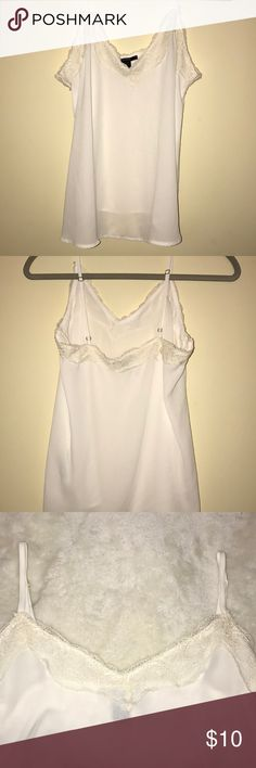 NWOT WHITE SATIN AND LACE FE21 TANK TOP Satin cami with lace trim and adjustable straps. Brand new and never worn. Forever 21 Tops Tank Tops